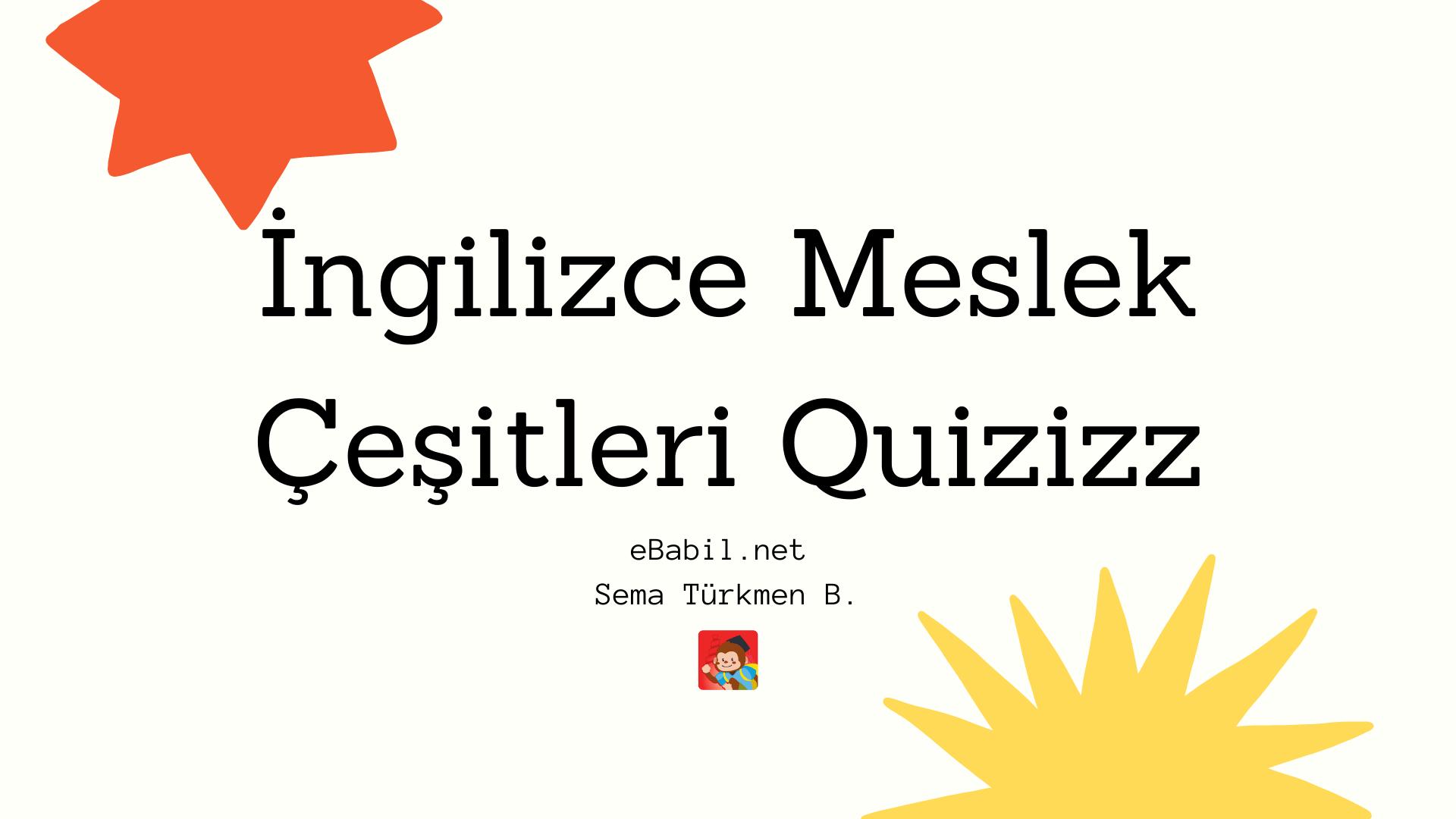 Kelime Oyunu (Quizizz): İngilizce Meslekler (Jobs)